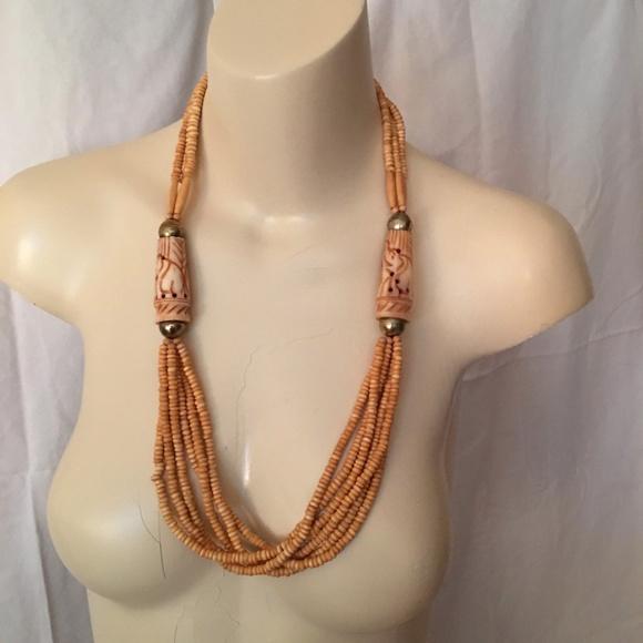 Vintage Jewelry Ethnic Tribal Carved Bone Bead Necklace Poshmark